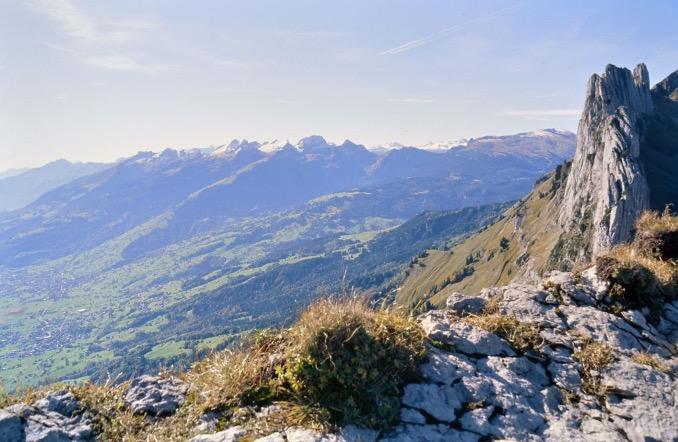 Blick vom Alpstein ins Rheintal