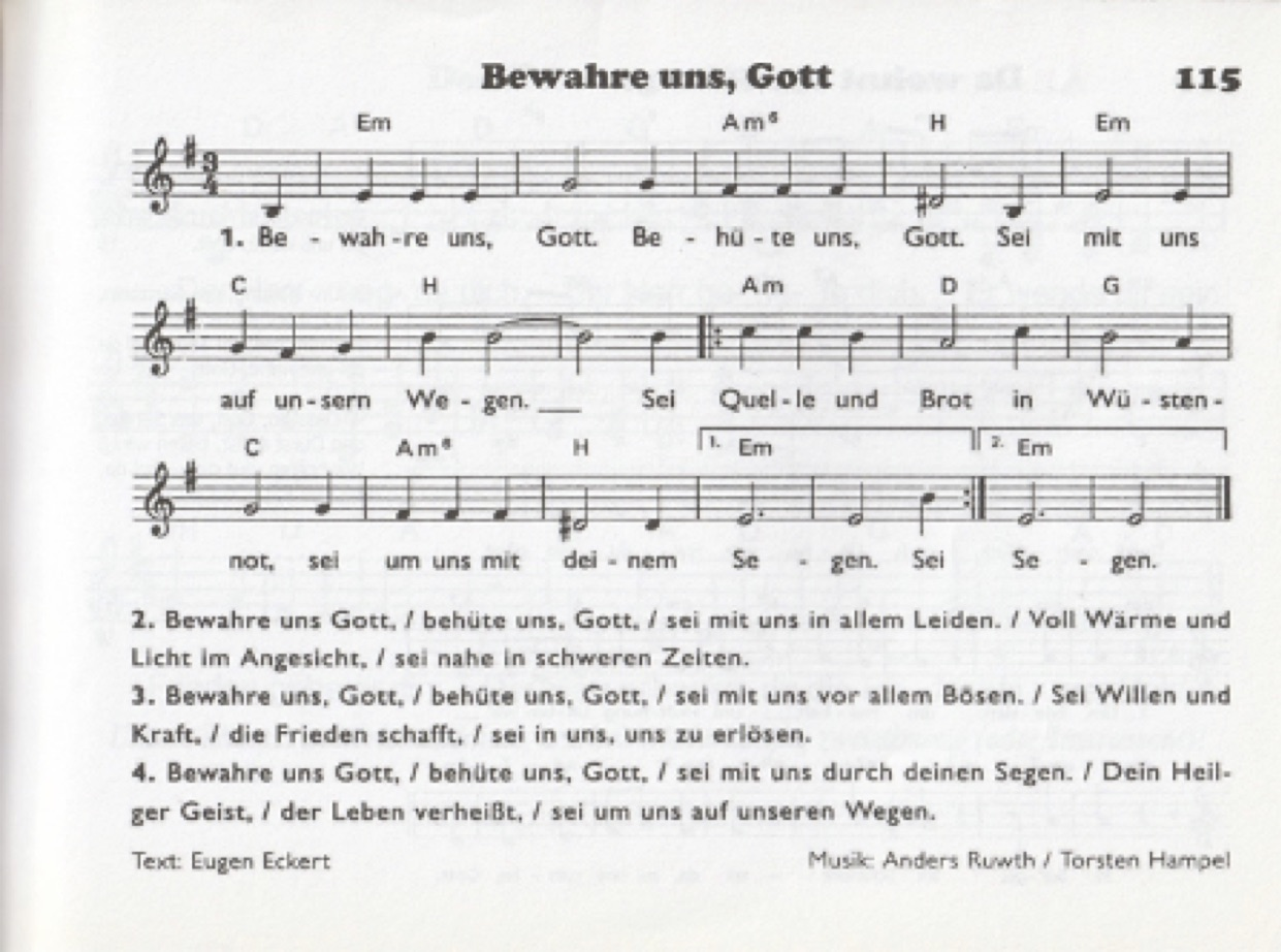 Lied: Bewahre uns Gott
